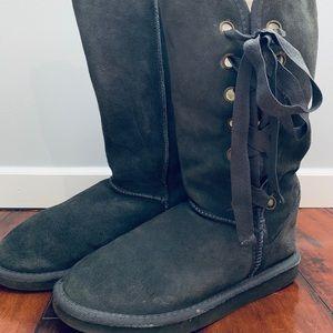 Gray 100% Merino Wool EMU Lace-up Boots